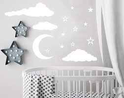White Tree Wall Decal Nursery by Cloud Wall Decal Moon And Stars Decals Nursery Decor Night Sky