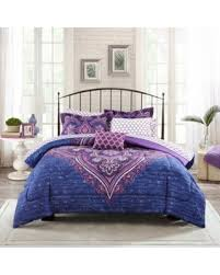 amazing deal on mainstays grace medallion purple bed in a bag