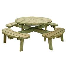 round picnic table with seat backs 8 seater free delivery