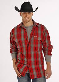 powder river men u0027s bandera brushed red gray plaid western shirt