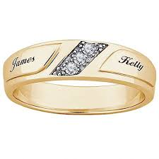 ring with name engraved personalized women s cz 10kt gold engraved name wedding ring