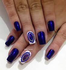 50 rhinestone nail art ideas royal blue color and white nails