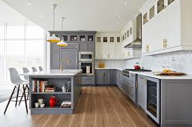 Two Tone Kitchen Walls Interiors Light Gray Kitchen Cabinet With White Marble Countertop