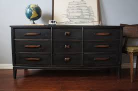 mid century graphite distressed dresser