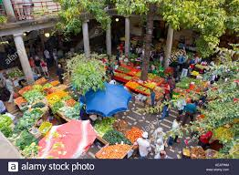 madeira funchal indoor flower and fruit market stock photo
