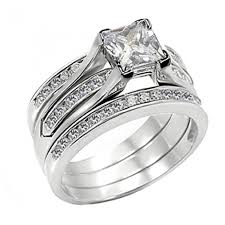 Sterling Silver Wedding Ring Sets by His Hers 4 Pcs Black Titanium Cz Matching Band Pretty Women