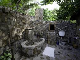 tropical outdoor bathroom white small vanity sink under