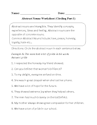 nouns worksheets abstract nouns worksheets