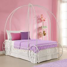 white wooden canopy bed with white top cover also curving head
