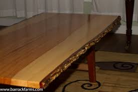 Hickory Table Top Laminated Hickory Table With Natural Bark Edge Barrack Farms