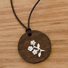 wood pendant necklace images Silver flower on wood pendant with leather cord necklace bouquet jpg
