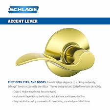 schlage f10vacc619 accent passage lever satin nickel door