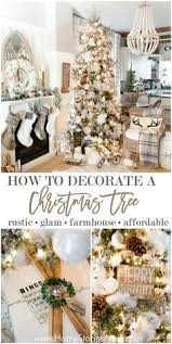 White Christmas Tree Decorated Simple Farmhouse Christmas Bedroom Rusty Metal Large White And