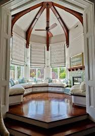 bay window design with blinds and window seating interior bay