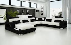 U Shaped Leather Sectional Sofa Sofa Leather Furniture Black Leather Sectional Large Sectional U