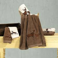 embroidered deer bath towel set cabin place