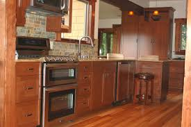 cabinets u0026 drawer brick backsplash natural cherry shaker kitchen