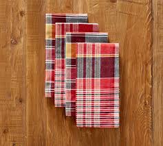 Pottery Barn Madras Curtains Quinn Madras Yarn Dyed Napkin Set Of 4 Pottery Barn