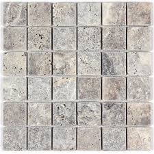 silver travertine wall floor bathroom kitchen tile mosaic and