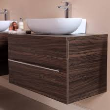 750mm Vanity Units For Bathroom by Aspen 750 Wall Mounted Walnut Cabinet With Artisan Basin The