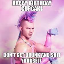 Drunk Birthday Meme - happy birthday cupcake don t get drunk and shit yourself meme