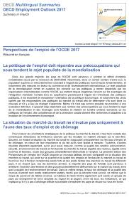 Resume Francais Oecd Employment Outlook 2017 Summary In French Perspectives De