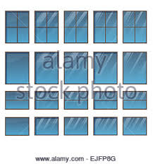 Different Windows Designs Icon Of Closed Window Frame Shadow Reflection Design Vector