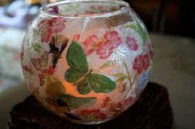 pink and green mama mod podge and decorative napkin votive lanterns