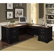 L Shaped Computer Desk With Storage Black Painted Mahogany Wood Corner Computer Desk Which Slicked Up