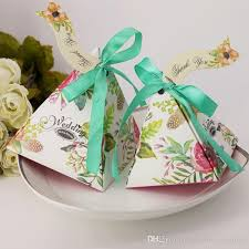 favor ribbons sweet triangle candy box with ribbons wedding favor boxes party