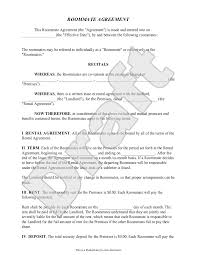 Free Lease Agreement Roommate Agreement Template Free Form With Sample Roommate