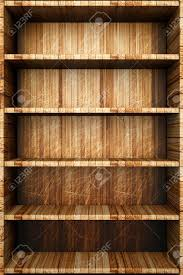 Wood Plank Shelves by A Wooden Bookcase With Empty Bookshelfs Stock Photo Picture And