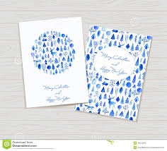 greeting cards with ornaments watercolor illustration