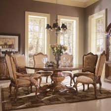 vintage dining room with 6 piece wooden round dining set wrought