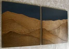 wood mountain wall mountains wood wall decor two set elwoodworks home