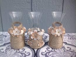 Burlap Home Decor Glass Vase Beach Nautical Flower Floral Decorated Jute Burlap Home