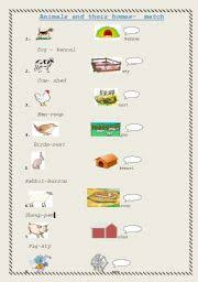 english teaching worksheets animal homes