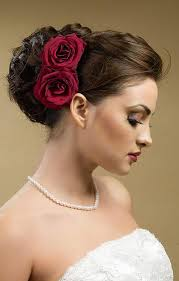 beautiful wedding updo bun hairstyles with rose flower for long