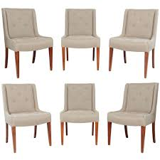 At Home Dining Chairs Set Of Six Tufted Dining Chairs In Hemp Linen At 1stdibs