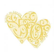personalised golden wedding anniversary card must dash illustration