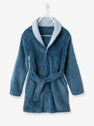 robe de chambre enfants robe de chambre douceur peluche bleu jean vertbaudet