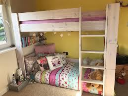 White High Sleeper Bed Frame White Wash Pine High Sleeper Single Bed Frame With Play Space