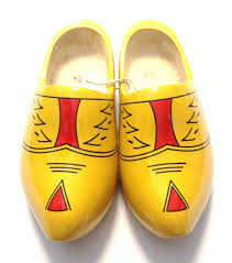 yellow dutch wooden shoes with stripes wooden clogs the dutch