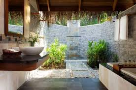 Open Shower Bathroom Design With Well Open Air Bathroom Concept - Resort bathroom design
