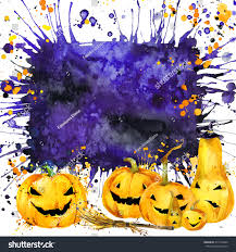 halloween border design halloween pumpkin watercolor stock