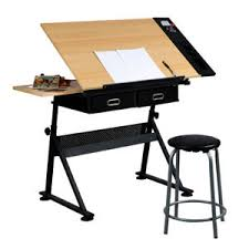 Draft Table Adjustable Drawing Desk Draft Table W Stool 2 Drawers Tiltable