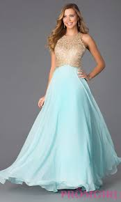 aqua long evening gown with lace promgirl