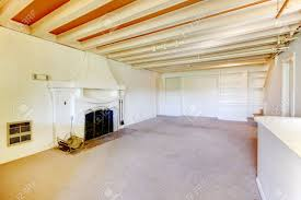 old american house living room in the basement with fireplace