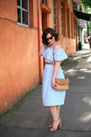off the shoulder blue and white stripe dress by create enjoy