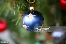 closeup of traditional tree decorations uk stock photo
